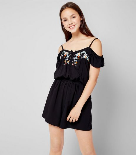 Teens Black Floral Embroidered Lace Up Playsuit | New Look