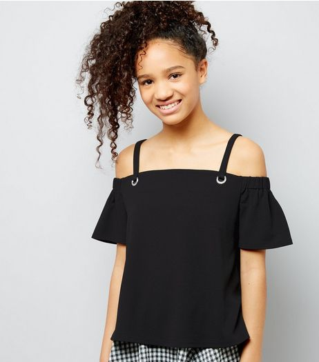 Teens Black Eyelet Strap Cold Shoulder Crop Top | New Look