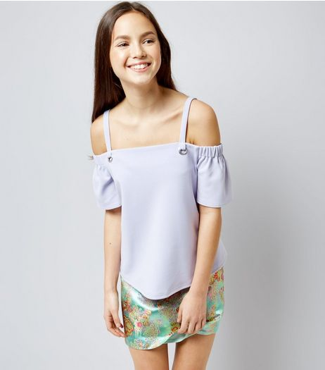 Teens Lilac Eyelet Strap Cold Shoulder Top | New Look