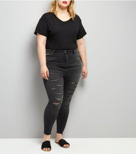 Curves Black Extreme Ripped Skinny Jeans | New Look