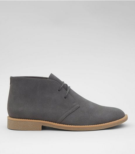 Grey Suedette Desert Boots | New Look