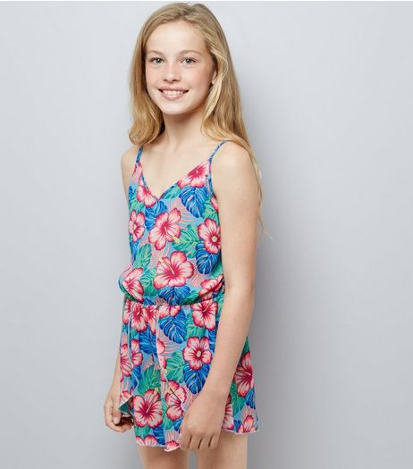 Teens Blue Tropical Print Beach Playsuit | New Look