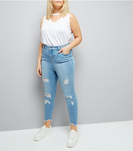 Curves Pale Blue Distressed Skinny Jeans | New Look