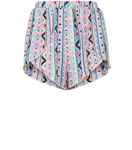 Teens Neon Multicoloured Aztec Print Shorts | New Look