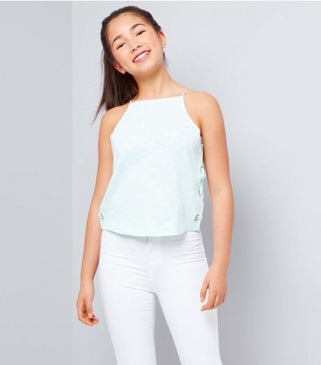 Teens Mint Green Lace Up Side Cami Top | New Look