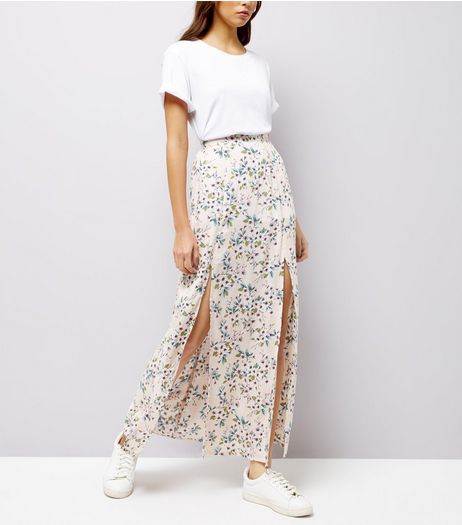 Pink Floral Print Split Front Maxi Skirt | New Look