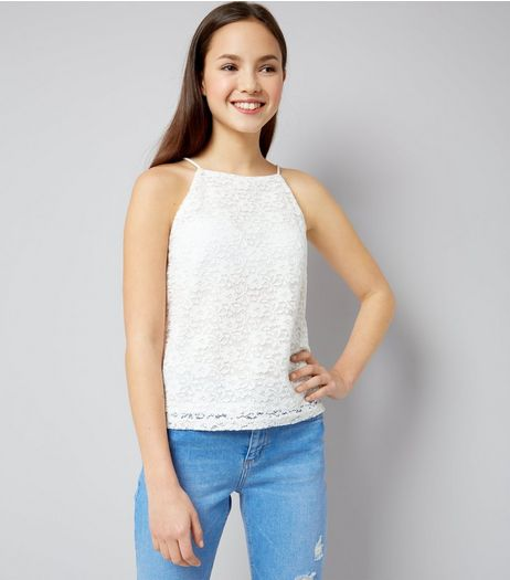 Teens Cream Floral Lace High Neck Cami | New Look