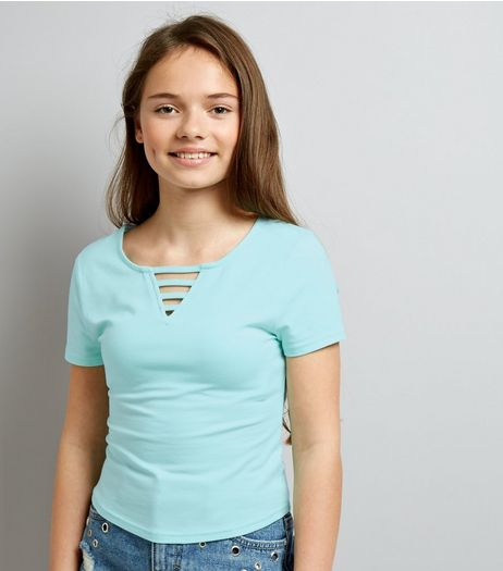 Teens Mint Green Lattice Front T-Shirt | New Look