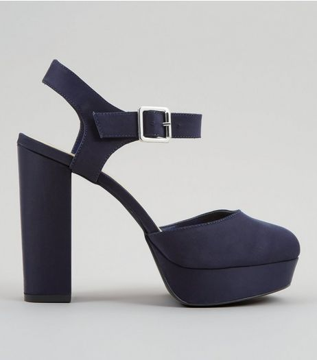 Wide Fit Navy Satin Platform Heels | New Look