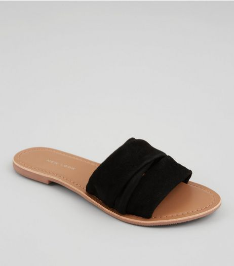 Wide Fit Black Ruched Suede Mules | New Look