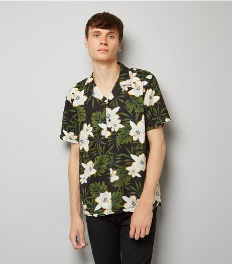 Black Tropical Floral Print Short Shirt | New Look