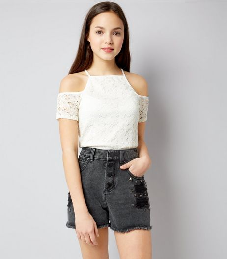 Teens Cream Lace Cold Shoulder Top | New Look