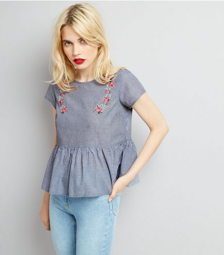 Blue Stripe Floral Embroidered Peplum Top | New Look