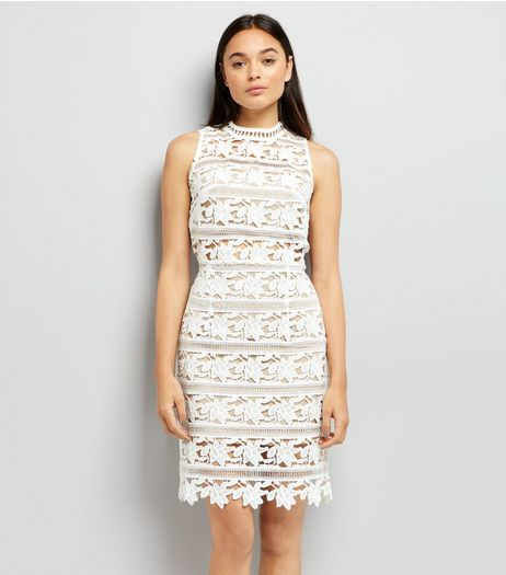 White Premium Lace Sleeveless Bodycon Dress | New Look