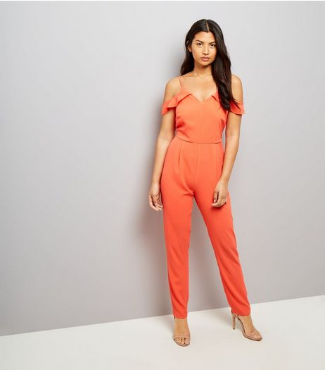 Orange Cold Shoulder Jumpsuit | New Look