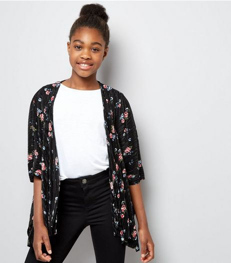 Teens Black Floral Print Pleated Kimono | New Look