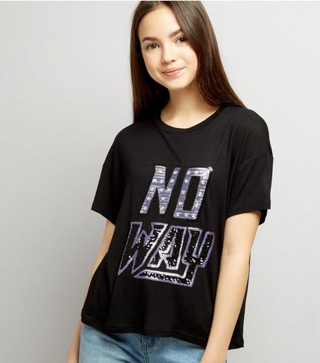 Teens Black No Way Sequin Embellished Cropped T-Shirt | New Look