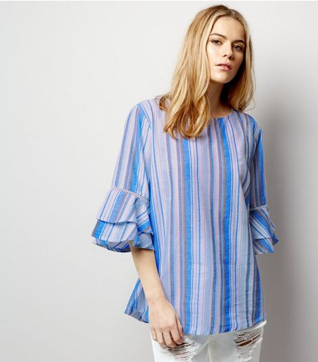 Blue Vanilla Blue Stripe Bell Sleeve Top  | New Look