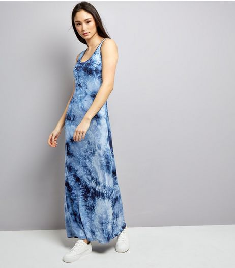 Blue Vanilla Navy Tie Dye Maxi Dress  | New Look