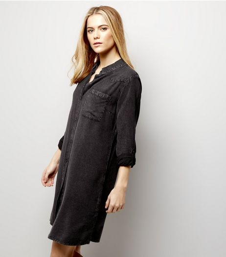 Black Washed Shirt Dress | New Look