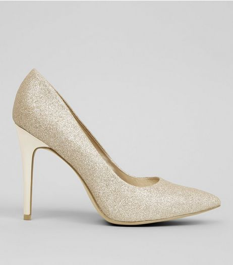 Wide Fit Gold Glitter Pointed Court Heels | New Look