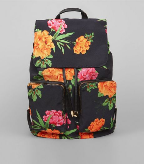 Black Tropical Floral Print Backpack | New Look
