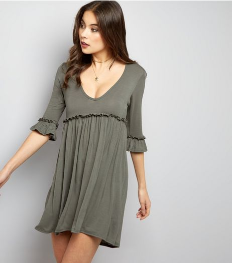 Blue Vanilla Olive Green Frill Trim V Neck Tunic Dress | New Look