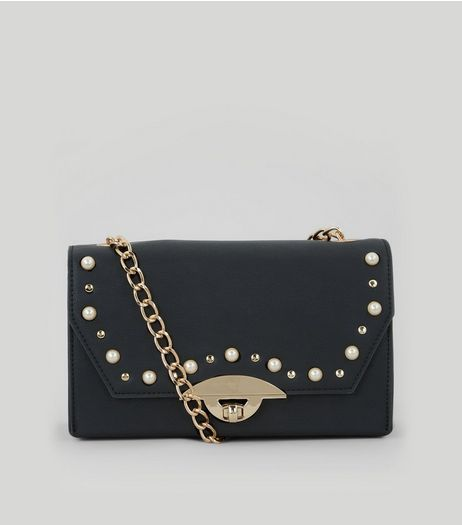 Black Pearl Stud Shoulder Bag | New Look