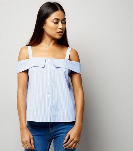 Petite Blue Stripe Deconstructed Cold Shoulder Top | New Look