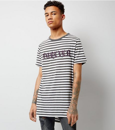 Grey Stripe Forever Embroidered Longline T-Shirt | New Look