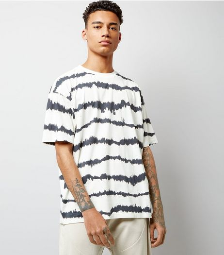 White Tie Dye Stripe Print T-Shirt | New Look