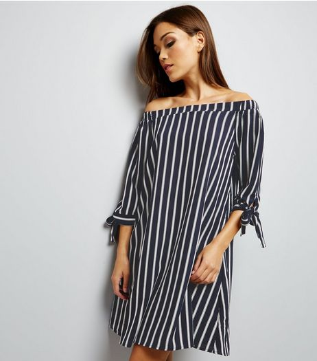 Blue Vanilla Navy Stripe Bardot Neck Tie Sleeve Tunic Dress | New Look