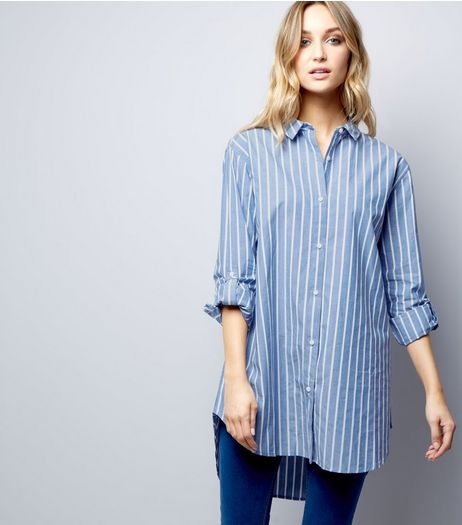 Blue Vanilla Blue Stripe Oversized Shirt | New Look