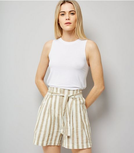 White Stripe Tie Waist Shorts | New Look