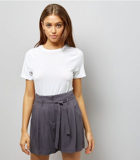 Dark Grey Tie Waist Shorts | New Look