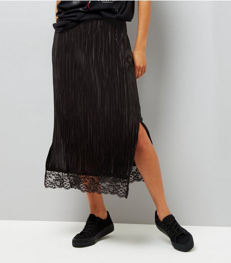 Black Pleated Lace Hem Midi Pencil Skirt  | New Look