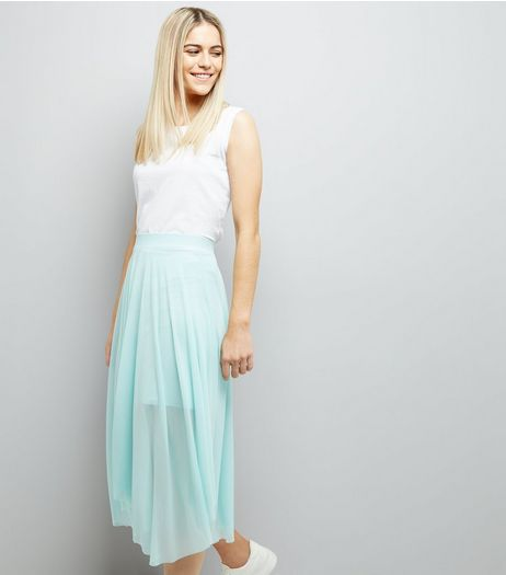 Mint Green Mesh Hanky Hem Skirt  | New Look