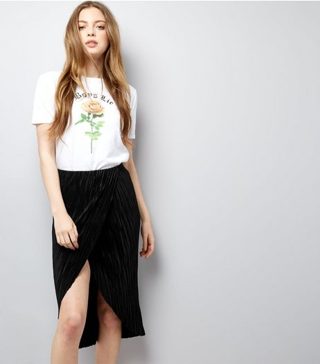 Black Pleated Wrap Front Midi Skirt  | New Look