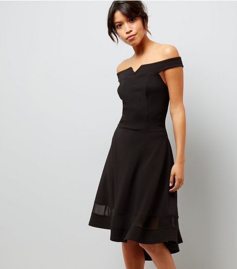 Tall Black Bardot Neck Mesh Panel Dip Hem Dress | New Look