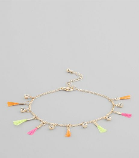 Gold Tassel Trim Anklet  | New Look