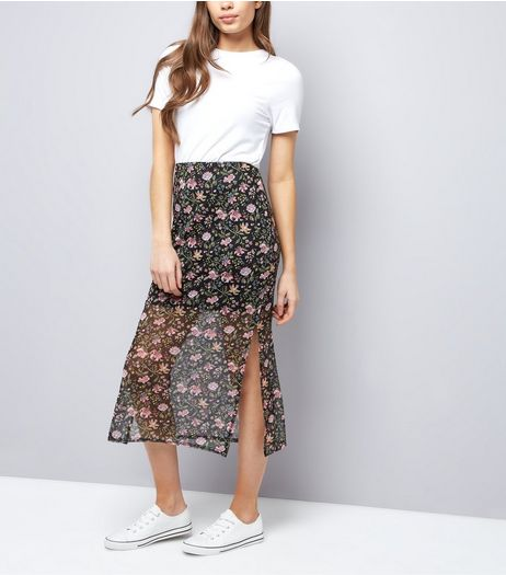 Black Floral Print Mesh Midi Skirt  | New Look