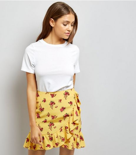 Yellow Ditsy Floral Print Frill Trim Mini Skirt  | New Look