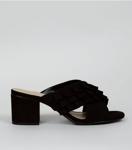 Wide Fit Black Frill Strap Heeled Mules | New Look
