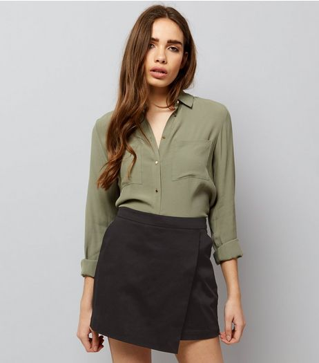 Black Wrap Front Cotton Mix Skort  | New Look