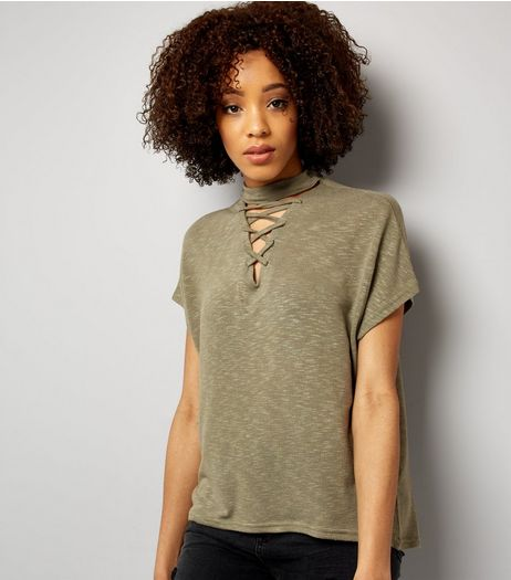 Olive Green Lattice Front Short Sleeve T-Shirt | New Look