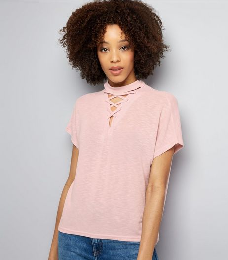 Lilac Lattice Front Short Sleeve T-Shirt | New Look