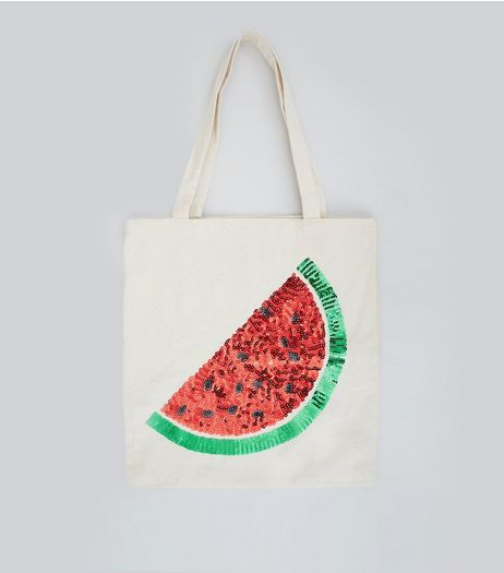 Red Sequin Watermelon Canvas Tote Bag | New Look