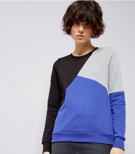 Noisy May Black Colour Block Sweater | New Look