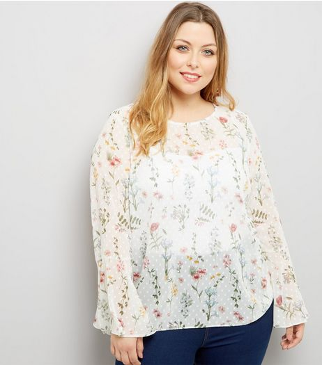 Curves White Floral Print Spot Chiffon Top | New Look