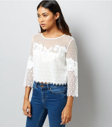 Petite White Spot Mesh Lace Detail Top | New Look